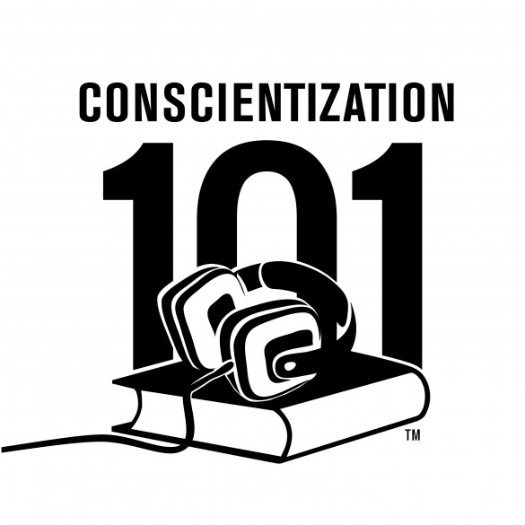 Comscientization 101 Black & White Trademark Stack Logo