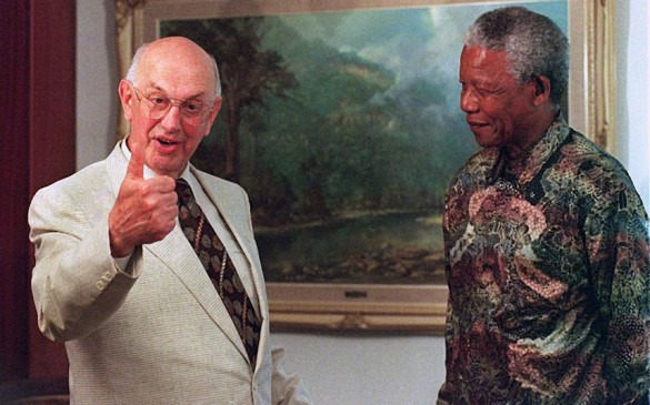 sellout nigga Mandela with Botha The White Devil